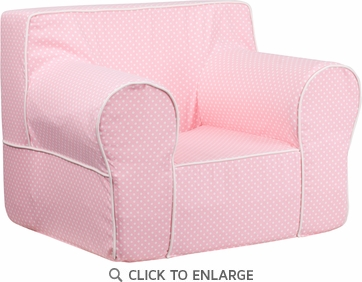 Oversized Light Pink Dot Kids Chair with White Piping [DG-LGE-CH-KID-DOT-PK-GG]