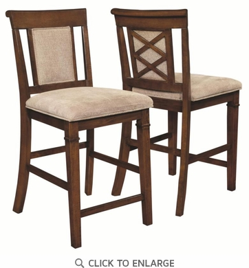 Pembrook Walnut Counter Height Stool Dining Chair by Coaster 121679  - Set of 2