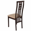 Phillips Espresso Finish Wood Dining Chair with Triple Window Pane Back and Brown Fabric Seat [ES-CB-2481YBH-E-BGE-GG]