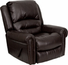 Plush Brown Leather Rocker Recliner