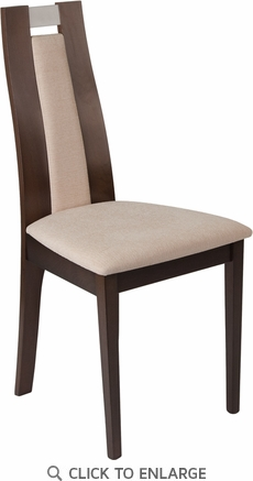 Quincy Espresso Finish Wood Dining Chair with Curved Slat Wood and Beige Fabric Seat [ES-CB-2453YBH-E-2BGE-GG]