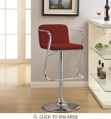 Red Fabric Adjustable Bar Stool Chair with Chrome Arm and Base by Coaster 121093