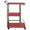 Red Metal and Glass Serving Cart with Wine Storage By Coaster
