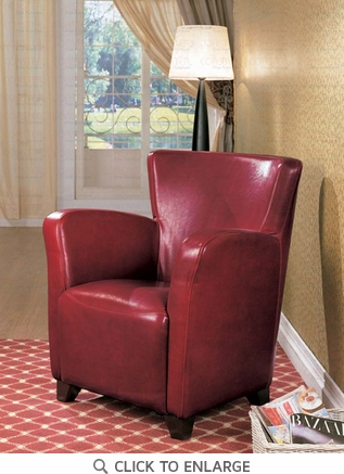 Red Vinyl High Back Accent Chair by Coaster - 900235
