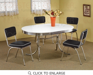 Retro Chrome Plated 5 Piece Dining Set by Coaster - 2065-2066