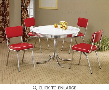 Retro Chrome Round 5 Piece Dining Set by Coaster - 2388-2450R