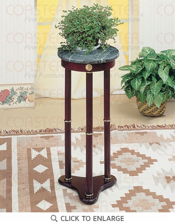 Round Cherry Plant Stand with Green Marble Top by Coaster - 3315