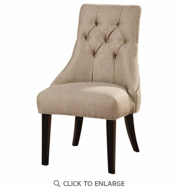 Sand Colored Upholstery Tufted Accent Side Chair by Coaster 104033