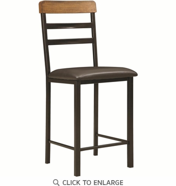 Sheldon Black and Oak Counter Stool Chair with Brown Seat by Coaster 121609 - Set of 2
