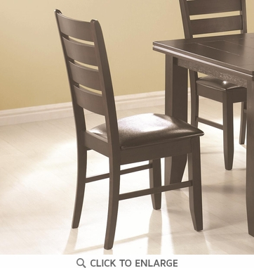 Slat Back Black Dining Chairs with Vinyl Seat by Coaster 102722 - Set of 2