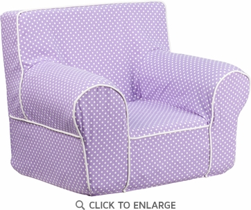 Small Lavender Dot Kids Chair with White Piping [DG-CH-KID-DOT-PUR-GG]
