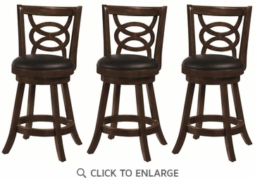 Solid Wood Merlot Swivel Counter Height Chair - Set of 3