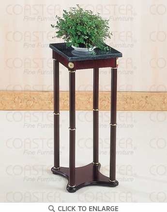 Square Cherry Plant Stand with Green Marble Top by Coaster - 3316