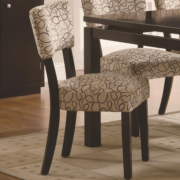 Tan Upholstered Cappuccino Dining Chairs by Coaster 103162 - Set of 2
