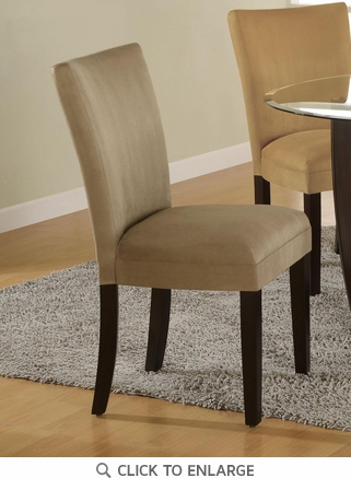 Taupe Microfiber Parson Dining Chairs by Coaster 101494 - Set of 2