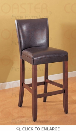 Telegraph 29 Inch Brown Faux Leather Bar Stool (Set of 2) by Coaster 100388
