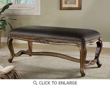 Traditional Black Leather Like Vinyl Bench by Coaster - 501006