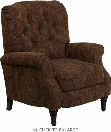 Traditional Tobacco Fabric Tufted Recliner with Brown and Black Paisley Design
