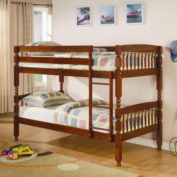 Twin Over Twin Bunk Bed in Medium Pine by Coaster  460223