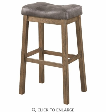 Two Tone Brown Leatherette Bar Stool - Set of 2