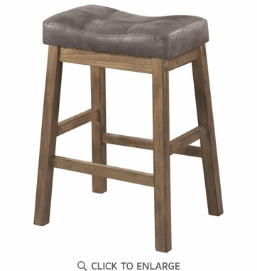 Two Tone Brown Leatherette Counter Height Stool - Set of 2