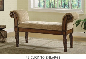 Upholstered Brown Bench with Rolled Arms by Coaster - 100224