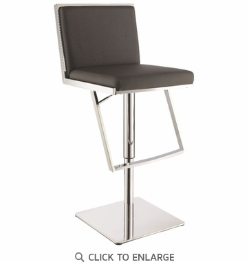 Upholstered Gray Adjustable Height Bar Stools With Chrome Steel Base