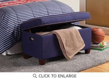 Upholstered Storage Bench in Royal Blue Fabric by Coaster 405019