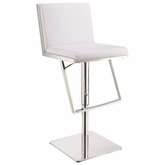 Upholstered White Adjustable Height Bar Stools With Chrome Steel Base