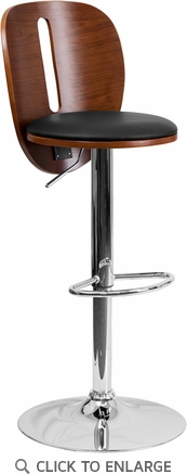 Walnut Bentwood Adjustable Height Barstool with Black Vinyl Seat and Cutout Back [SD-2220-WAL-GG]