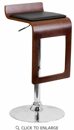 Walnut Bentwood Adjustable Height Barstool with Black Vinyl Seat and Drop Frame [SD-2075-1-WAL-GG]