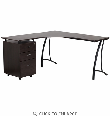 Walnut Laminate L-Shape Desk with Three Drawer Pedestal [NAN-WK-113-WAL-GG]