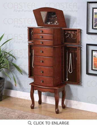 Warm Brown Finish Jewelry Armoire Lingerie Chest by Coaster