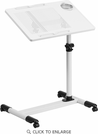 White Adjustable Height Steel Mobile Computer Desk [NAN-JG-06B-WH-GG]