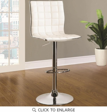 White and Chrome Adjustable Swivel Bar Stool Chair - Set of 2