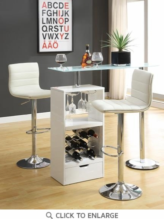 White Bar Table Set with Adjustable Bar Stool Chairs by Coaster 120452-120345
