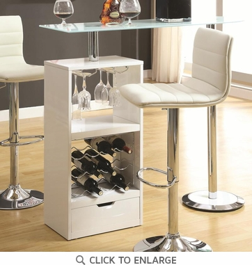 White Bar Table with Wine Bottle Storage and Glass Top