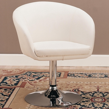 White Chrome Accent Leisure Chair by Coaster 120354