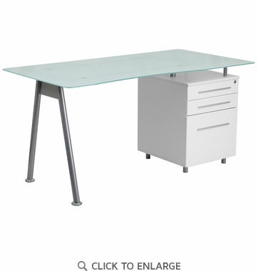 White Computer Desk with Glass Top and Three Drawer Pedestal [NAN-WK-021-GG]