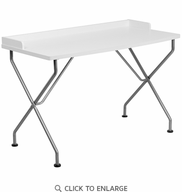 White Computer Desk with Silver Frame [NAN-JN-2116-WH-GG]