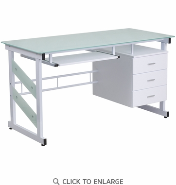 White Computer Desk with Three Drawer Pedestal [NAN-WK-017-GG]