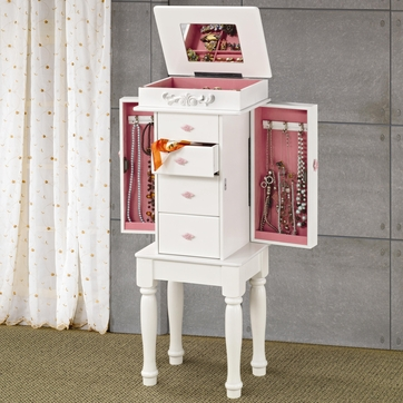 White Jewelry Armoire Lingerie Chest with Pink Hardware by Coaster