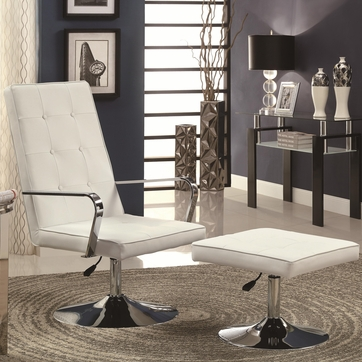 White Leather-Like Vinyl Swivel Chair and Ottoman Set by Coaster 902110