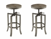 Wire Brushed Nutmeg Adjustable Height Bar Stool - Set of 2