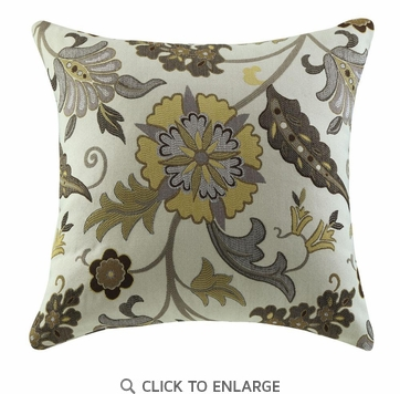 Yellow and Brown Flower Pattern Accent Pillow by Coaster 905002 - Set of Two