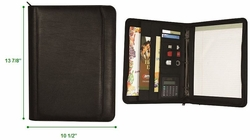 "Zippered 3-Ring Binder Custom Padfolio with Calculator - 1"" Rings"