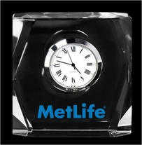 "3"" Square Crystal Clock, Customized"