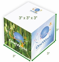 3x3x3 Inch Note Cube, Full Color Imprint on 4 Sides and Each Sheet (Non-Adhesive)