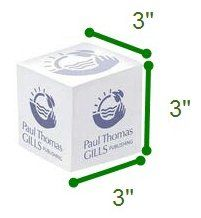 3x3x3 Inch Note Cube, One Color Imprint on 4 Sides and Each Sheet (Non-Adhesive)