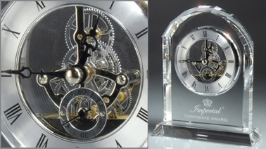 "6.75"" Arched Clear Crystal Clock, Customized"